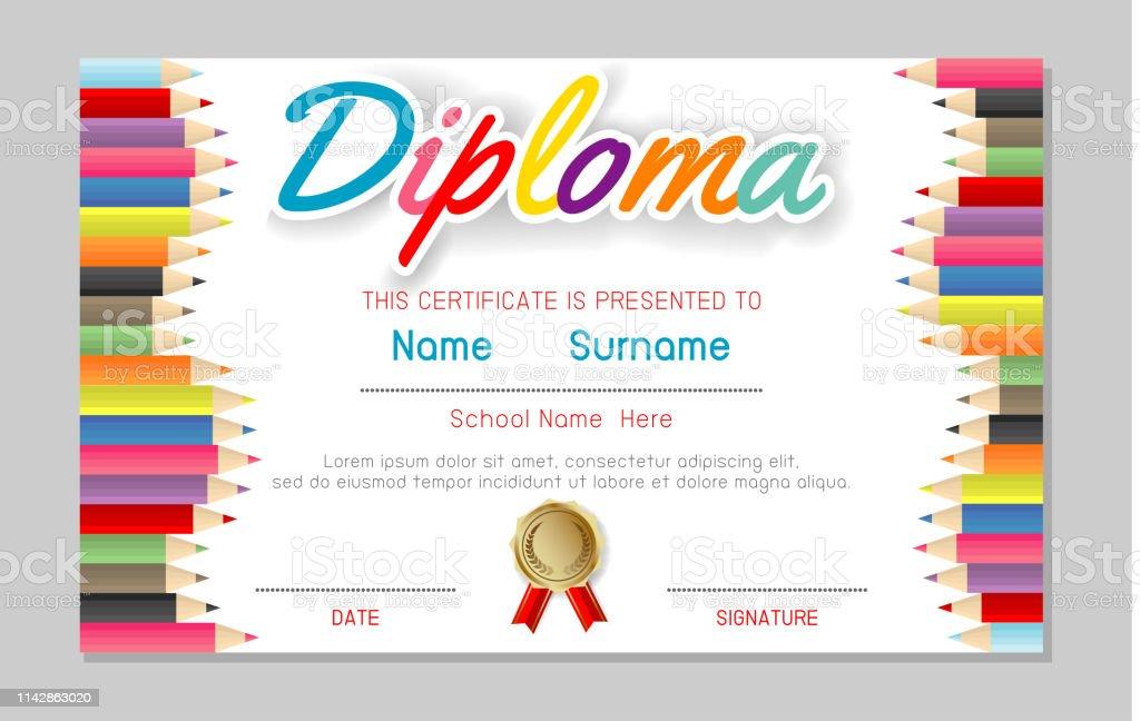 Certificate Kids Diploma Kindergarten Template Layout ...