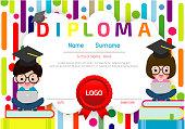 Certificate kids diploma, kindergarten template layout space background frame design vector. Preschool Kids Diploma,Certificate of children diploma, education preschool concept. Vector Illustration