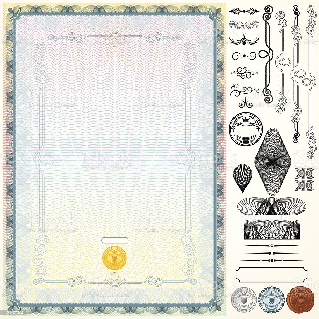 Certificate Kit. Design Template royalty-free stock vector art