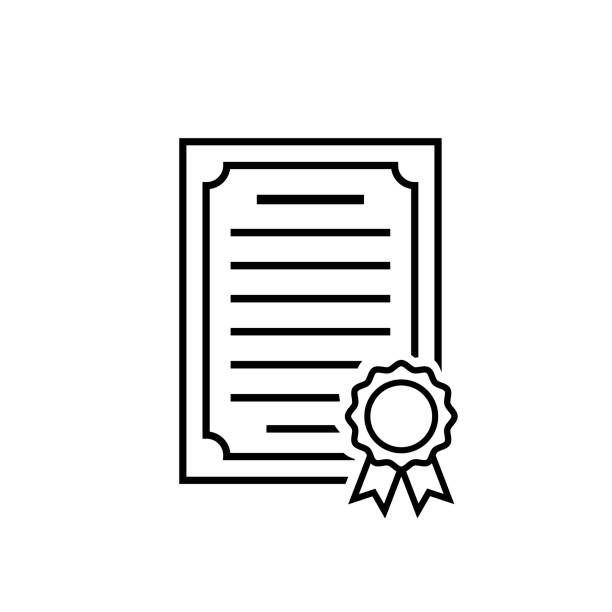 Certificate line icon. Achievement symbol on white Certificate line icon. Achievement symbol in flat style. Award, grant or diploma icon isolated on white background. Simple vector abstract certificate icon for web site design or button to mobile app. qualification round stock illustrations