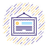 Line vector icon illustration of verified certificate.