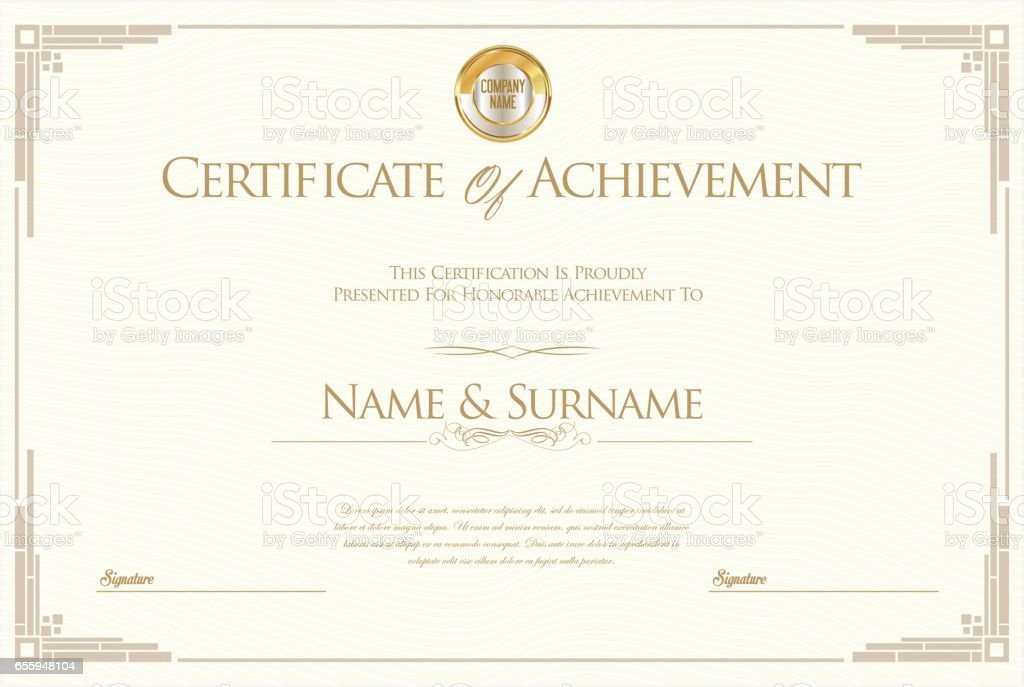 Certificate Of Achievement Or Diploma Template Stock Illustration