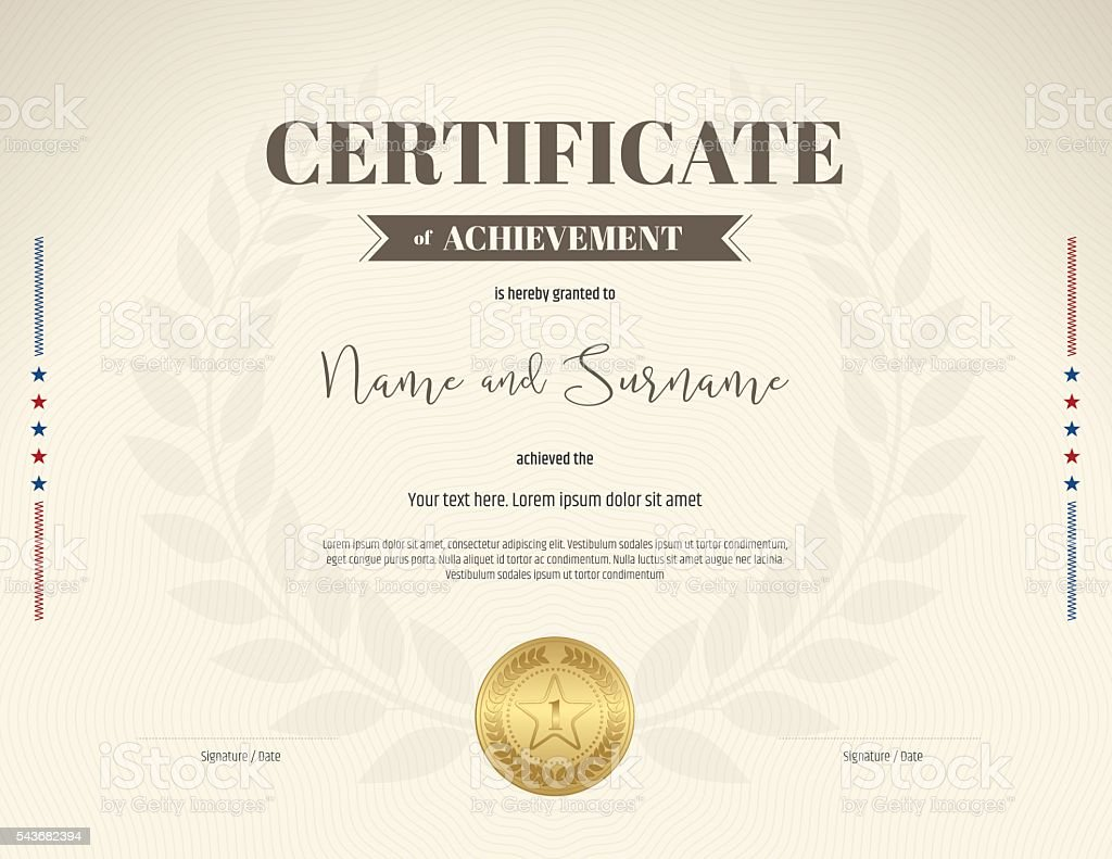 Certificate Of Achievement Template In Brown Theme Color Royalty Free  Certificate Of Achievement Template In  Certificate Achievement Template