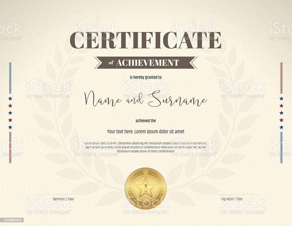 Certificate Of Achievement Template In Brown Theme Color Royalty Free  Certificate Of Achievement Template In  Certificate Achievement Template