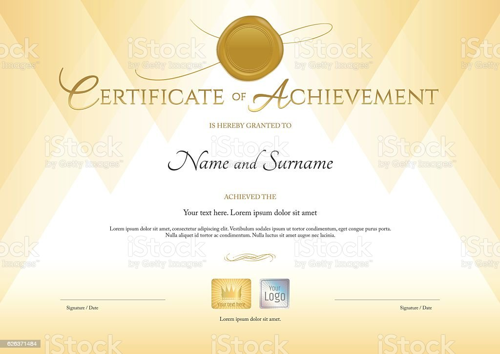 Certificate of achievement template in gold theme with wax seal vector art illustration