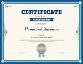 Certificate of achievement template in vector blue theme