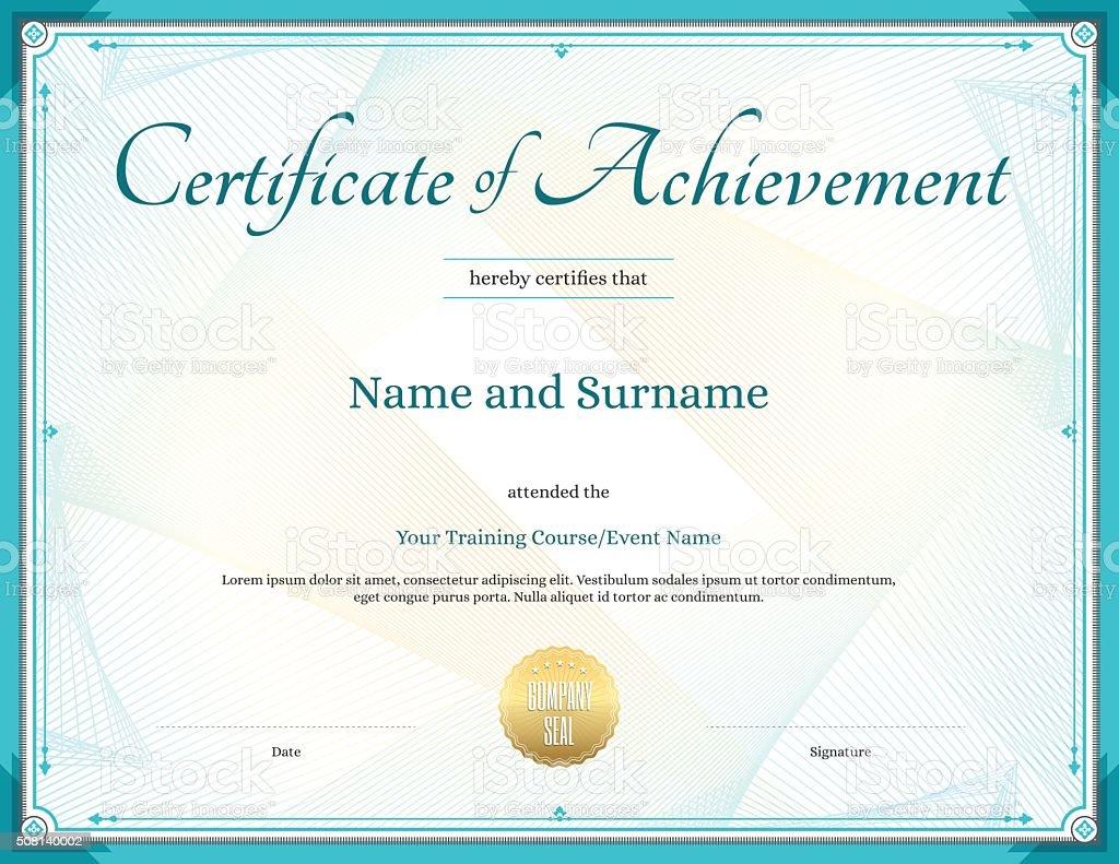 Zertifikat Leistung In Vektor Vorlage Für Leistung Stock Vektor Art ...