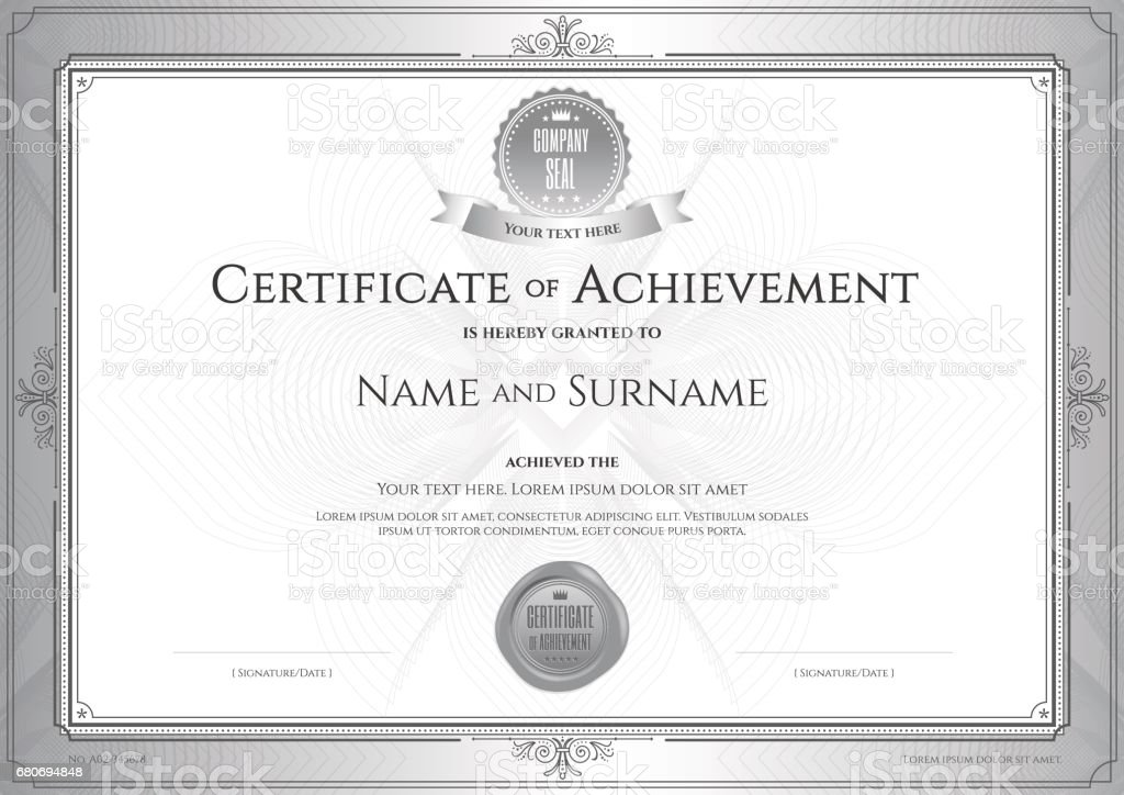 Certificate Of Achievement Template On Abstract Guilloche Background