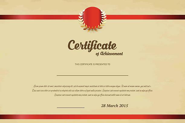 Certificate of achievement template Eps10 illustration debenture stock illustrations