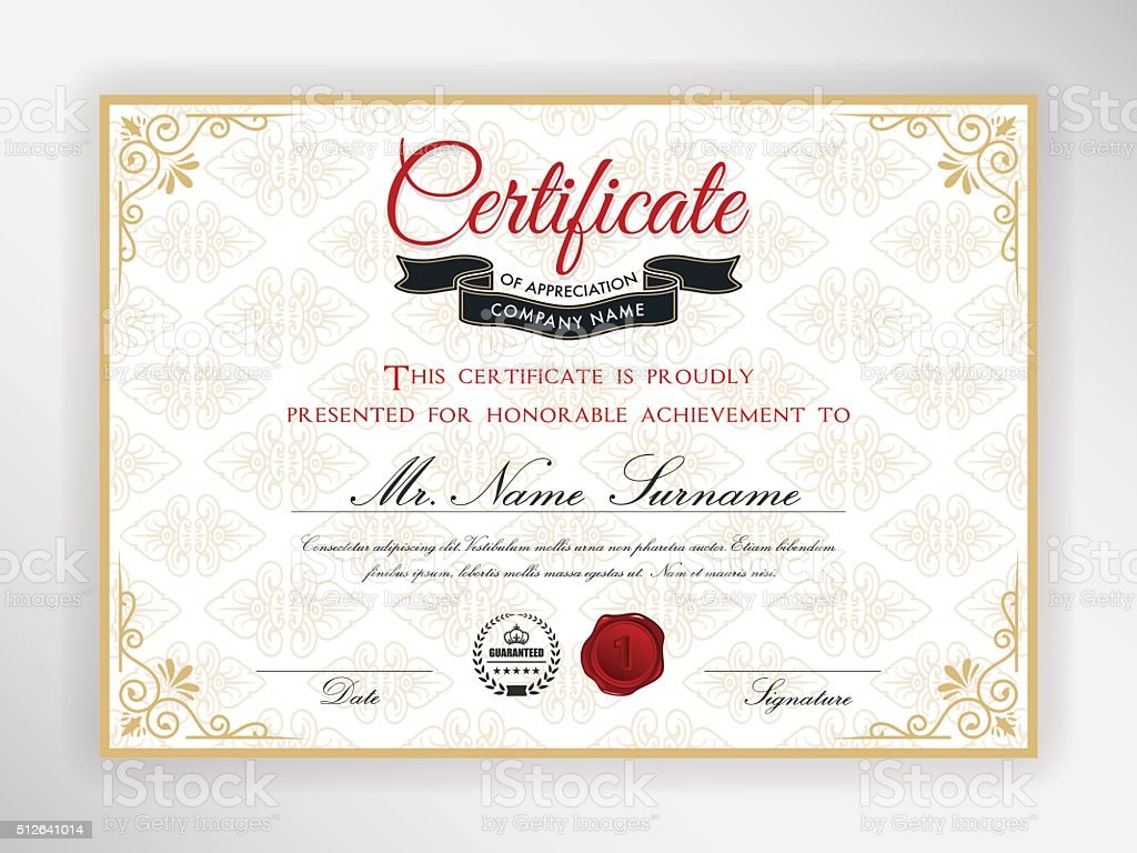 Certificate Of Achievement Template Stock Vector Art More Images