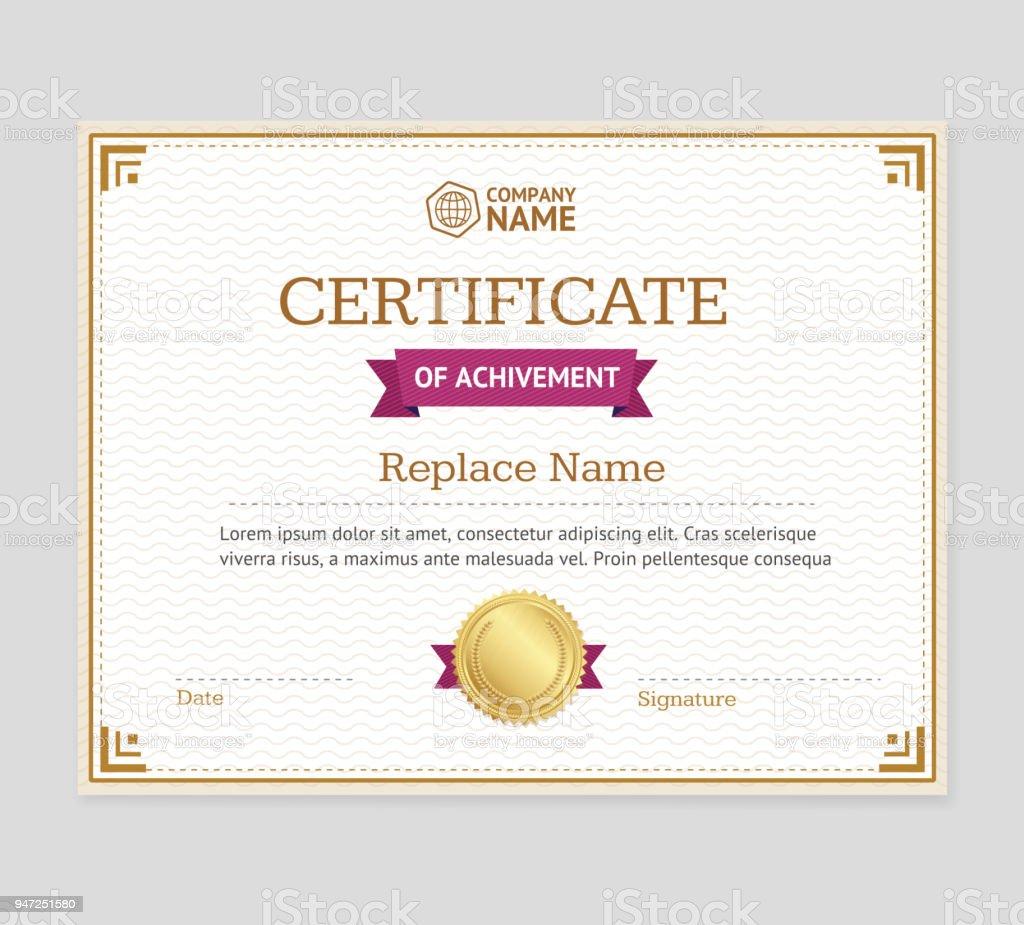 Certificado De Logro Plantilla Vector De - Arte vectorial de stock y ...