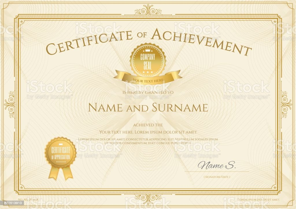 certificate of achievement template with elegant gold border の