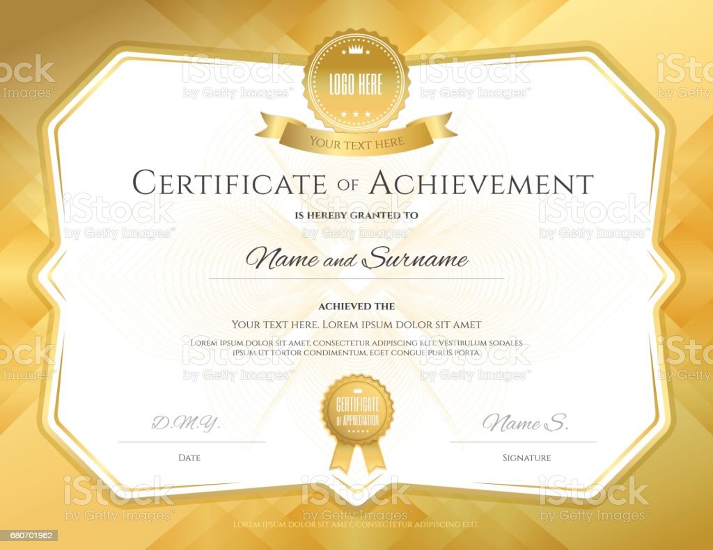 Certificate of achievement template with elegant gold border certificate of achievement template with elegant gold border certificate of achievement template with elegant yelopaper Gallery