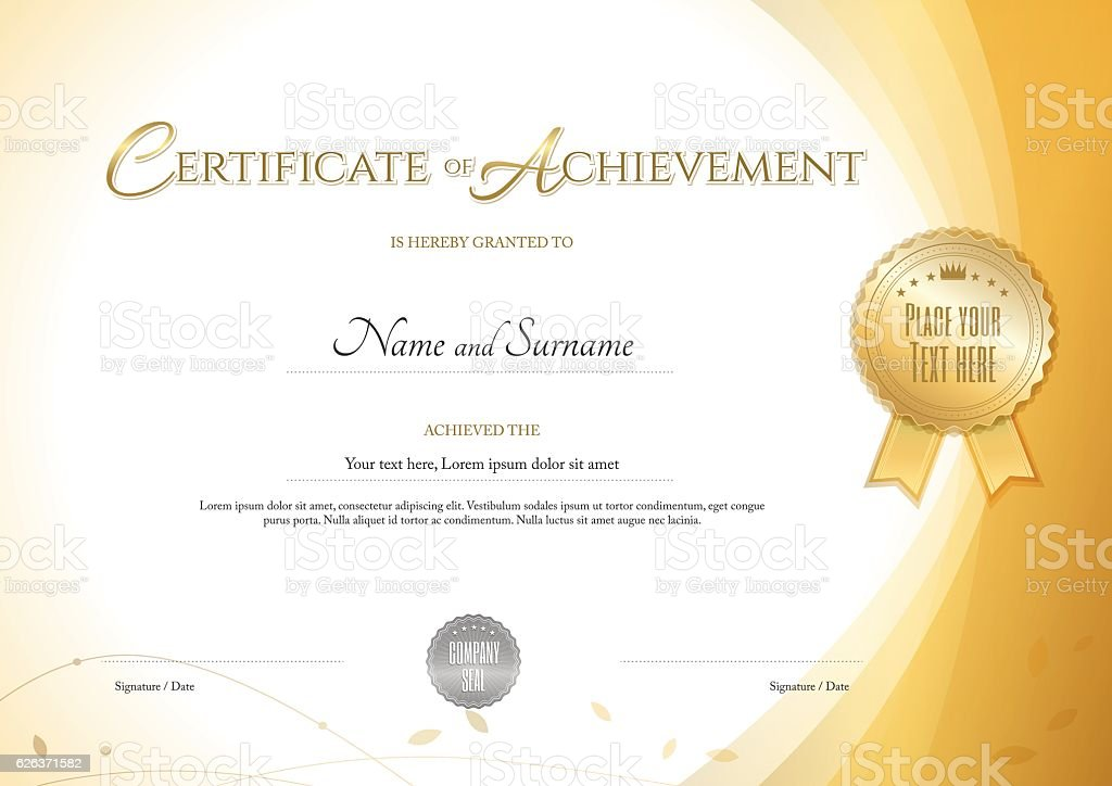 Certificate Of Achievement Template With Environment Theme Gold Color  Royalty Free Certificate Of Achievement Template  Free Certificate Of Achievement