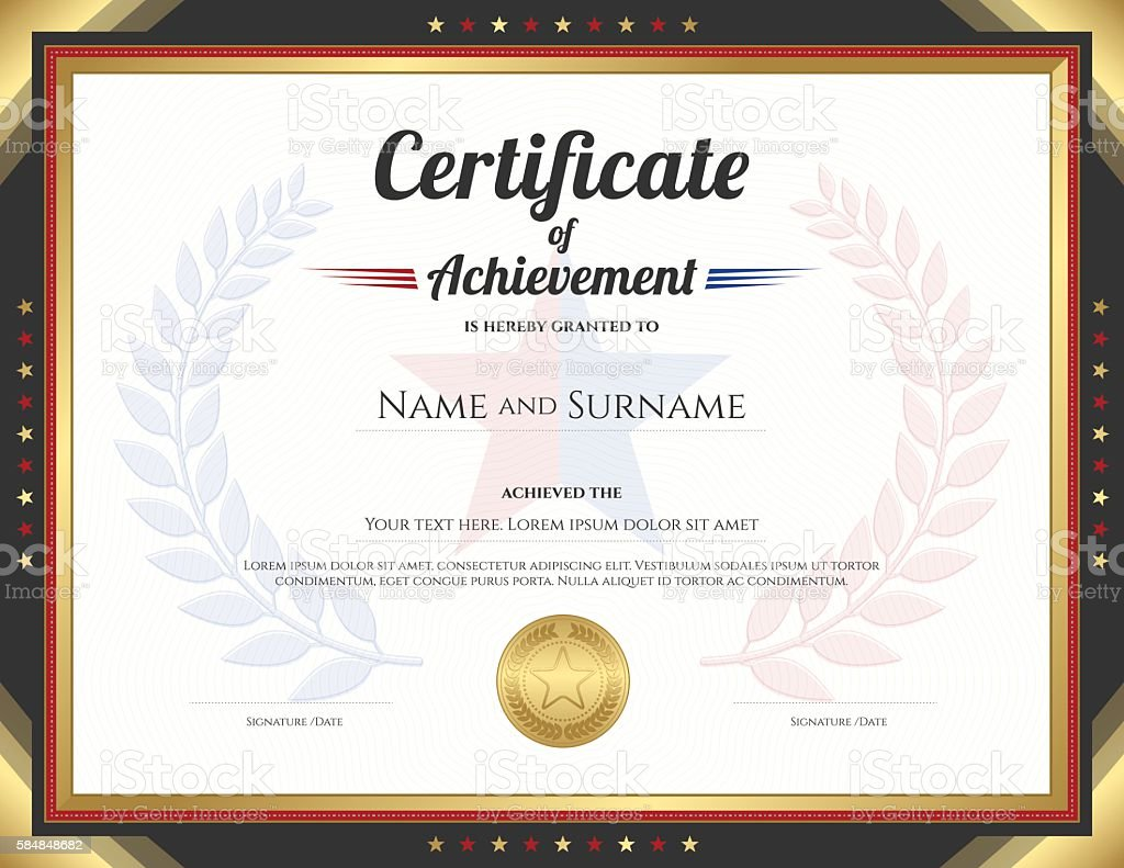 Certificate Of Achievement Template With Gold Border Theme Stock ...