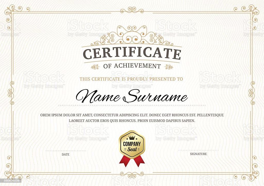 Certificate of achievement vector template background. vector art illustration