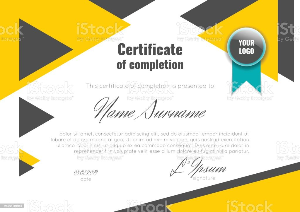 certificate of achievement with connection abstract background stock