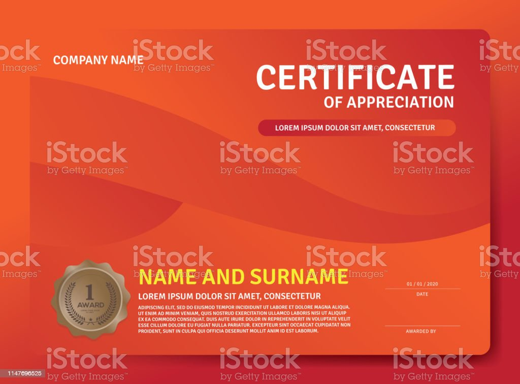 Certificate template Vector illustrationCertificate Of Appreciation...