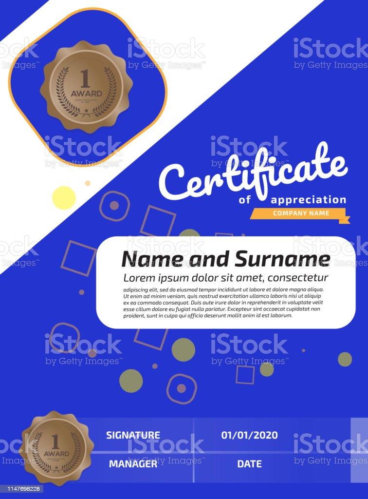 Certificate Of Appreciation Award Template. Illustration Certificate...