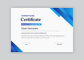 certificate of appreciation award template with blue  shapes and badge diploma vector template
