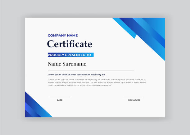 certificate of appreciation award template with blue  shapes and badge diploma vector template certificate of appreciation award template with blue  shapes and badge diploma vector template certificates and diplomas stock illustrations
