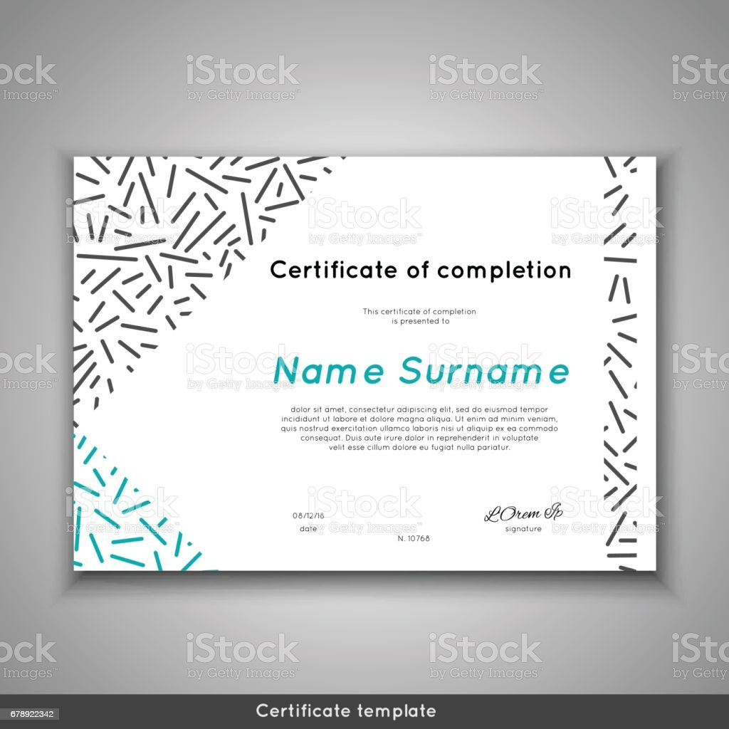 Certificate of appreciation completion, achievement, graduation, diploma or award with line abstract background vector art illustration
