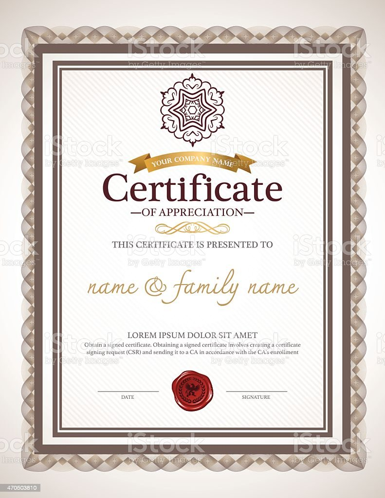 Certificate of appreciation design stock vector art more images of certificate of appreciation design royalty free certificate of appreciation design stock vector art amp yelopaper Image collections
