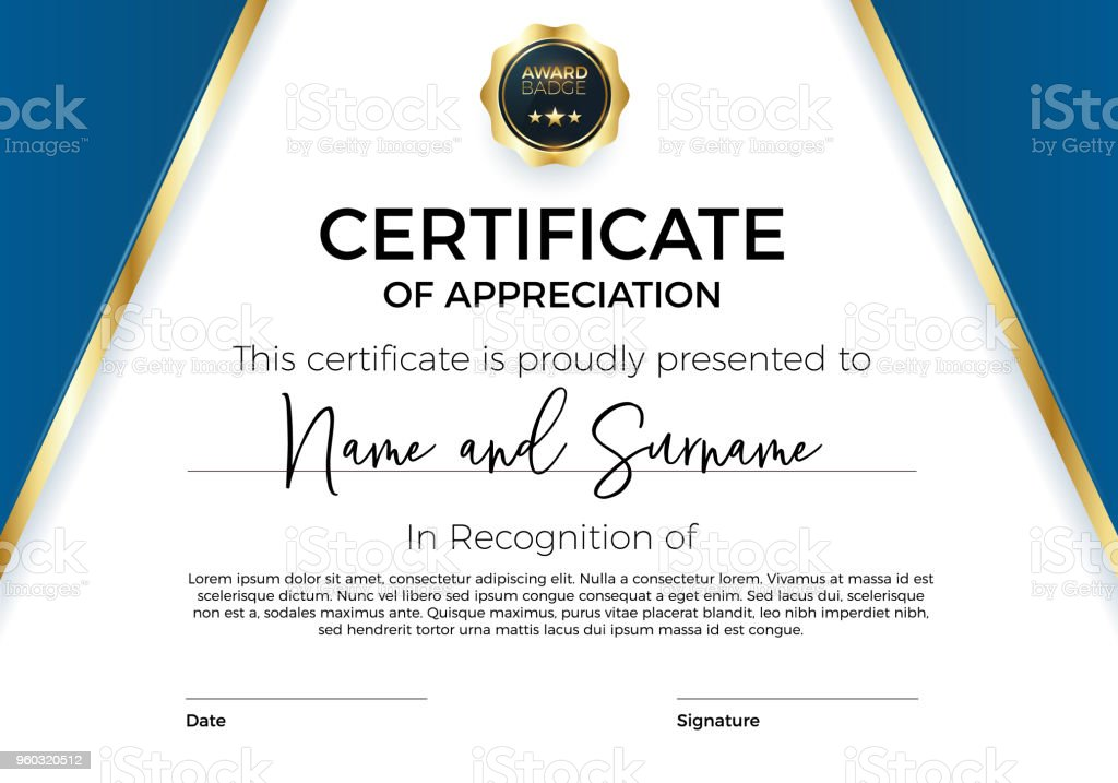 Certificate Of Appreciation Or Achievement With Award Badge Premium ...