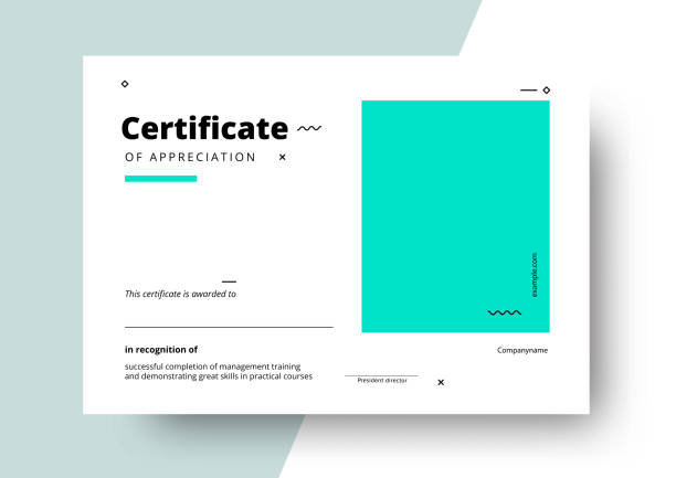 Certificate of appreciation template design. Elegant business di Certificate of appreciation template design. Elegant business diploma layout for training graduation or course completion. Vector background illustration. certificates and diplomas stock illustrations