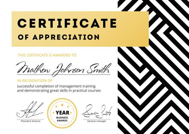 certificate of appreciation template design. elegant business di - oscars stock illustrations, clip art, cartoons, & icons