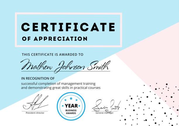 ilustrações, clipart, desenhos animados e ícones de certificado de design de modelo de apreciação. di de negócios elegante - molduras de certificados e premiações