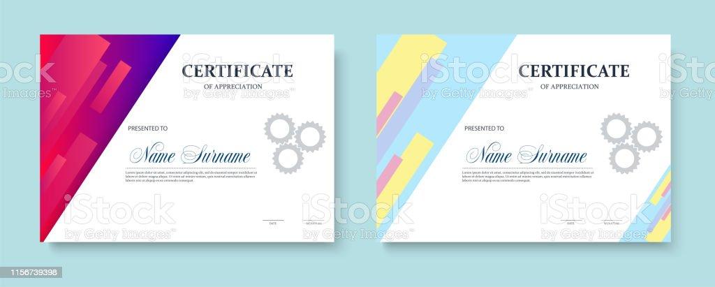 Certificate of appreciation template design. Trendy geometric design.