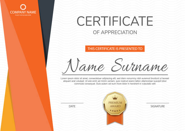 illustrazioni stock, clip art, cartoni animati e icone di tendenza di certificate of appreciation template design - attestato