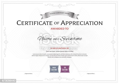 istock Certificate of appreciation template on abstract flower guilloche 673056440