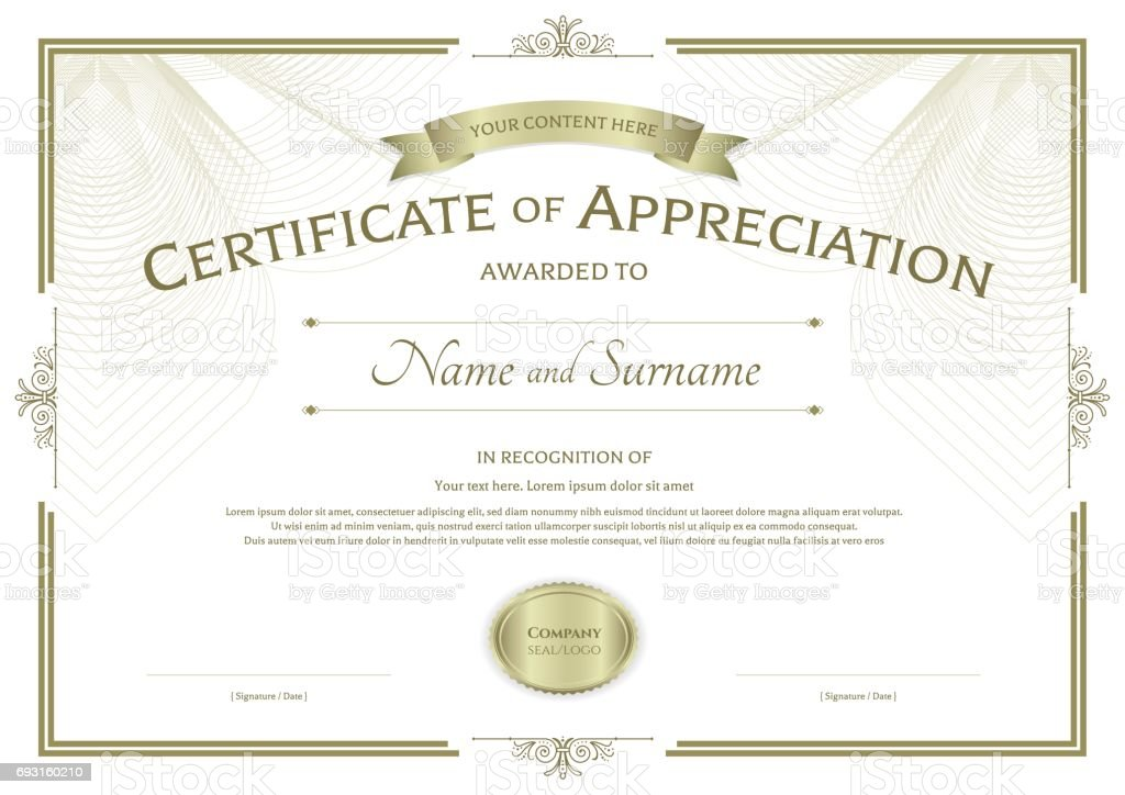 Certificate Of Appreciation Template On Abstract Guilloche
