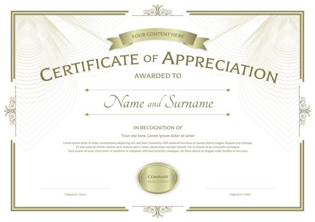 Certificate of appreciation template on abstract guilloche background vector art illustration