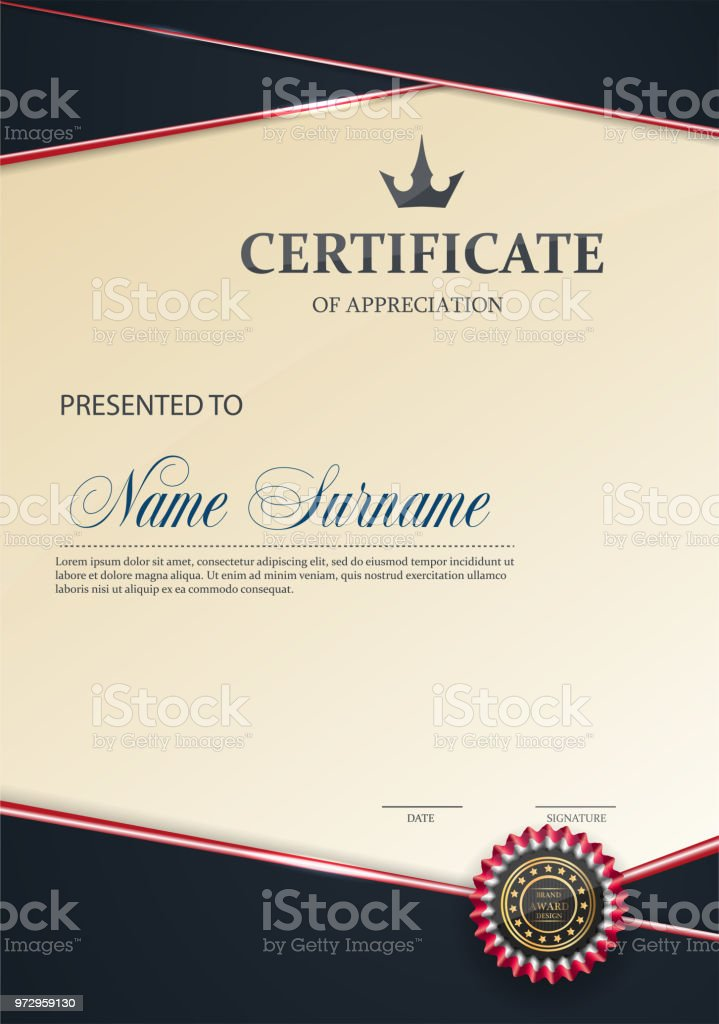 Certificate Appreciation Template Trend Styleeps10 Stock