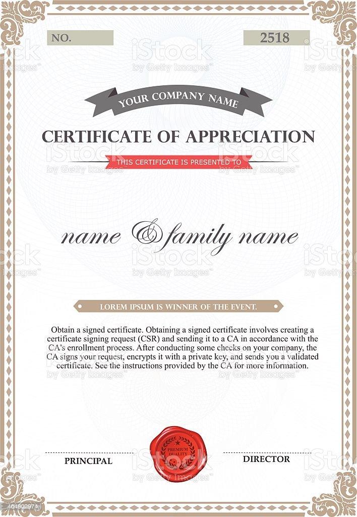 Certificate of appreciation template stock vector art more images certificate of appreciation template royalty free certificate of appreciation template stock vector art amp yadclub Choice Image