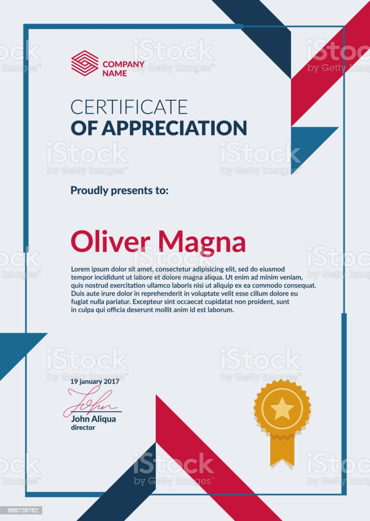 Certificate Appreciation Template Stock Illustration