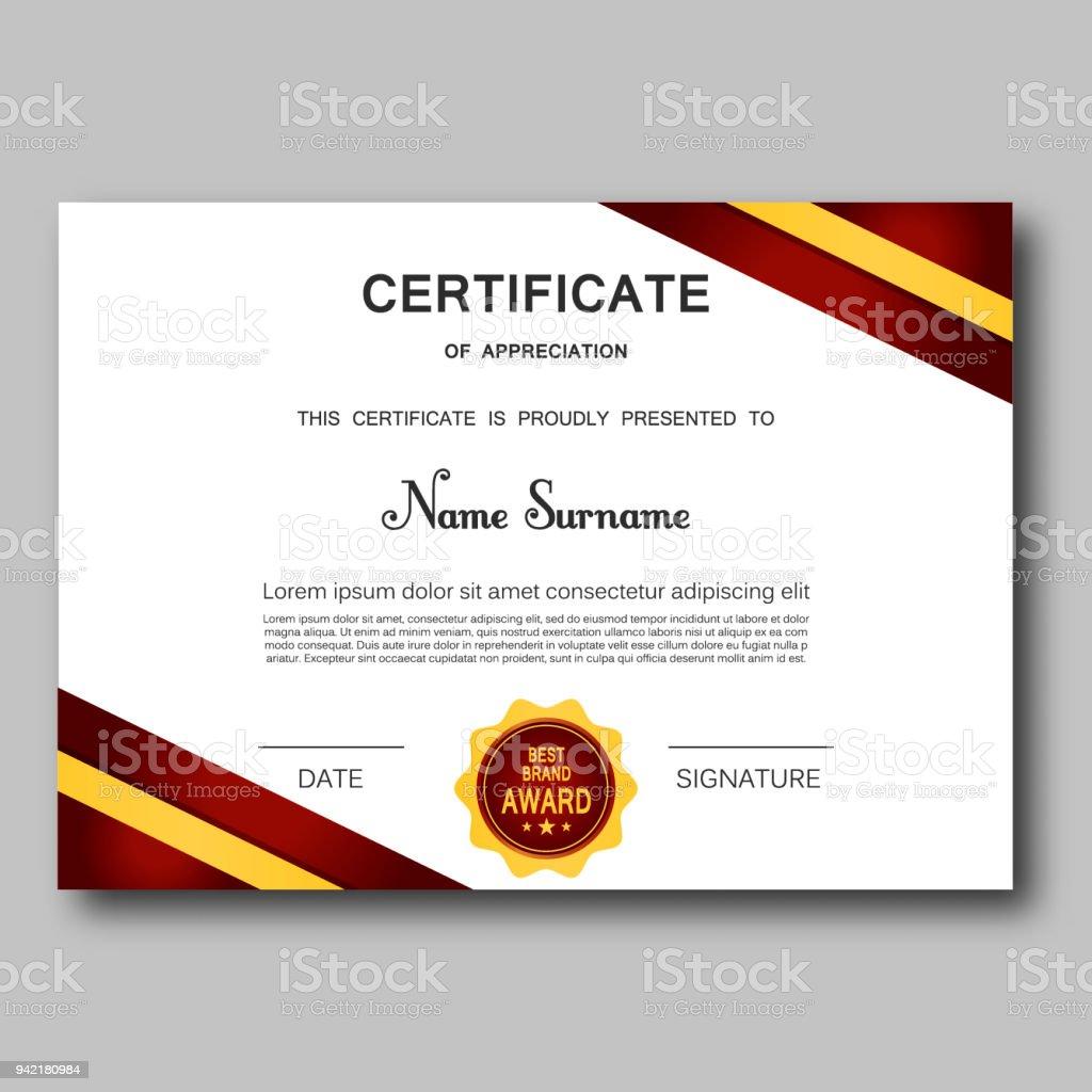 Ilustración de Certificado De Apreciación Plantilla Vector Diseño ...