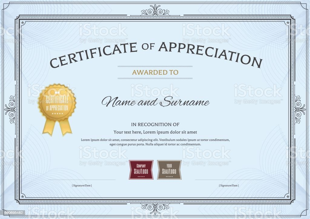 Certificate of appreciation template with award ribbon and vintage certificate of appreciation template with award ribbon and vintage border yelopaper Choice Image