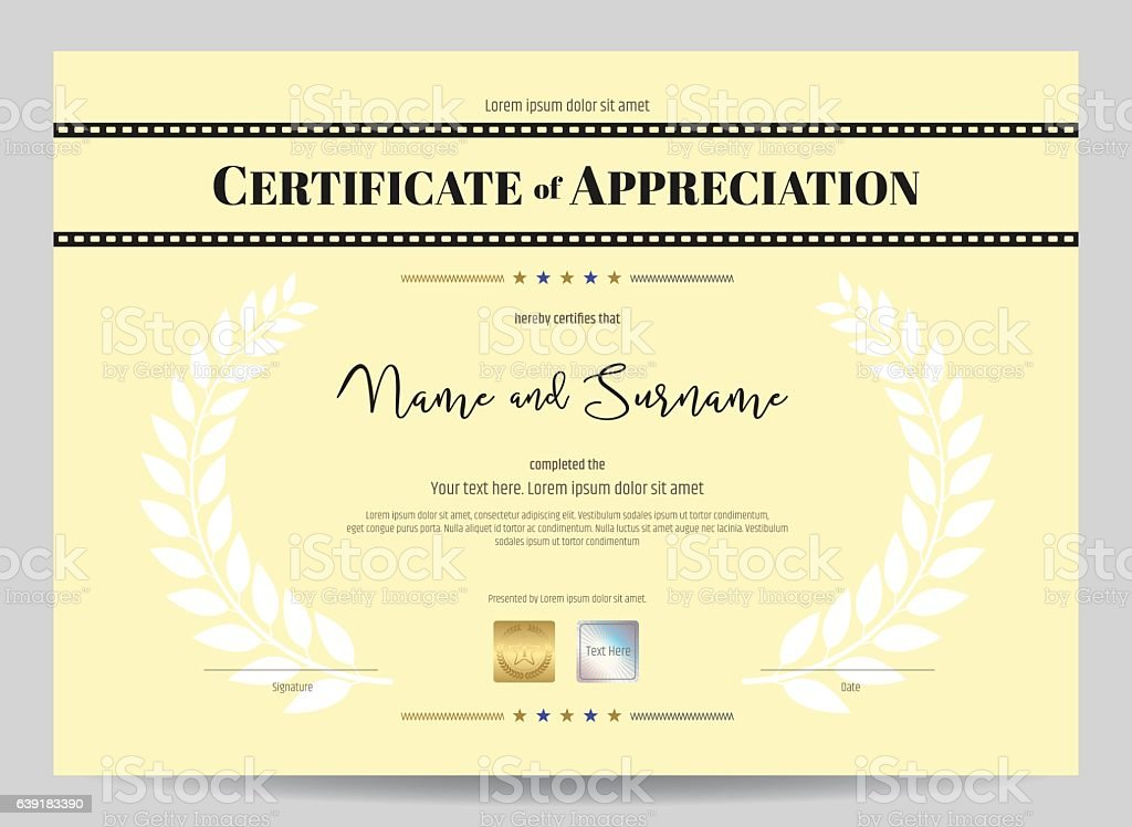 Certificate of appreciation template with movie film stripe header certificate of appreciation template with movie film stripe header royalty free stock vector art yelopaper Image collections