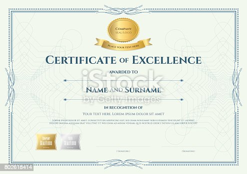 istock Certificate of appreciation template with vintage border style 802618414