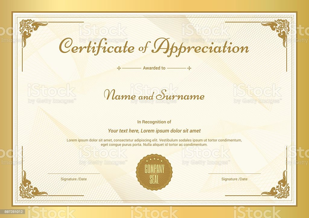 Certificate Of Appreciation Template With Vintage Gold Border Stock