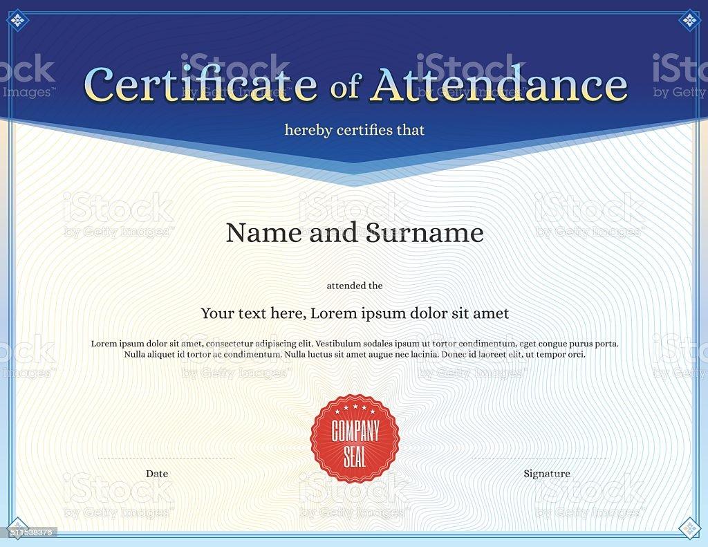 Certificate of attendance template in vector vector art illustration