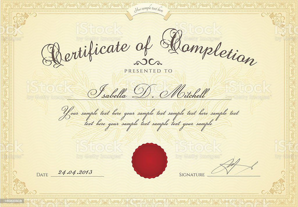 Certificate of completion / Diploma template. Award background, floral border, frame vector art illustration