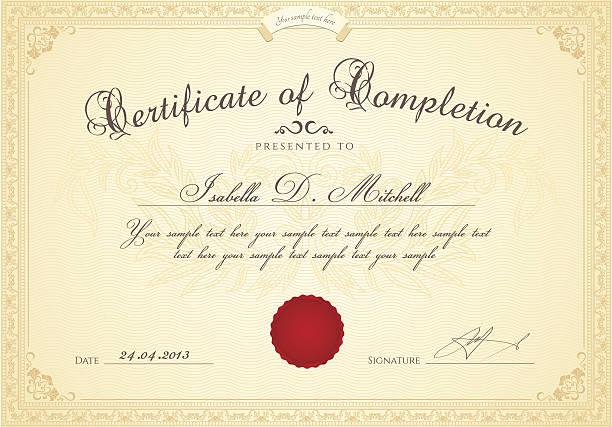 bildbanksillustrationer, clip art samt tecknat material och ikoner med certificate of completion / diploma template. award background, floral border, frame - diploma