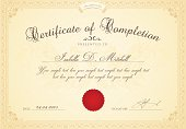 Certificate of completion / Diploma template. Award background, floral border, frame