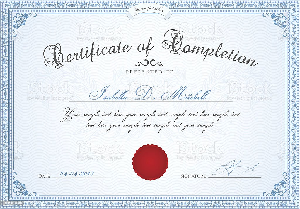 Certificado de finalización/Diploma plantilla.  Fondo, la frontera floral, bastidor - ilustración de arte vectorial