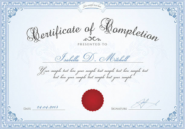 certificate of completion / diploma template. award background, floral border, frame - high school sports stock illustrations